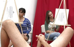 Horny teen art students got distracted by model's meat rocket