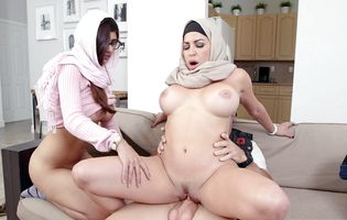 Amazing Muslim Julianna Vega with her friend ride cock revengefully
