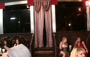 Party girls get relaxed enough to suck stripper's hard dick