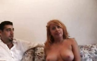 Busty mature Amber and young stud have a fuck session