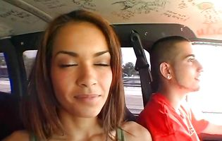 Daisy Marie has her twat licked in the moving car