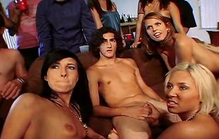 Shy Love and her friends attend a poker party orgy