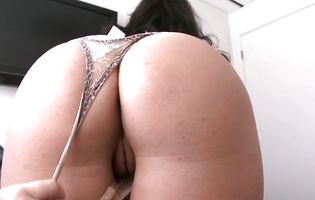 Sasha Stowaway shyly bends over and takes a large rod