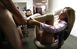 Blonde office babe Penelope is known to have fuckable feet