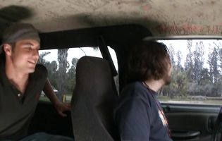 Brunette teen Stacy Miller takes a ride with two dudes