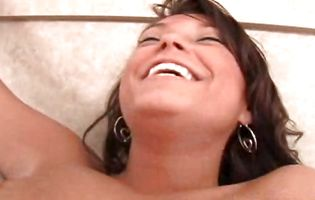 Tempting latin chick brown-haired Jerzi is playing with her tits while getting fucked very hard