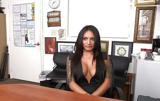 Classy brunette Natalia Mendez strips naked at a job interview