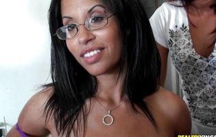 Beautiful milf in glasses Serena Sinful gives a mean blowjob