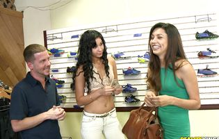 Two gorgeous teens seduce a clerk in a shoe store