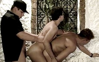 Three naughty butt buddies make a threesome fuck train outdoors