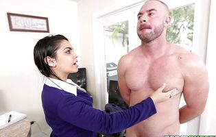 Ada S likes his muscles and lets him fuck her