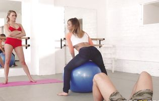 Johnny Sins gets hard watching two amazing pilates training chicks