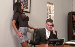 Stunning brunette Elicia Solis gets fiercely drilled in the office