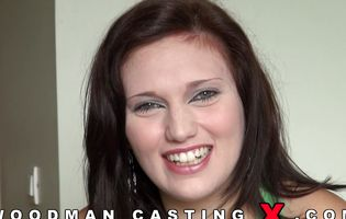 Chubby brunette is happy to be in the porn casting