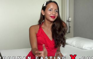 Cute latina babe shows her stuff to casting agent POV
