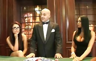 Lucky croupier gets to roughly fuck three stunning gambling babes