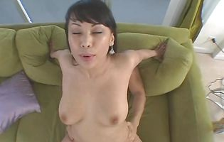 Prodigious japanese brown-haired Avena Lee slowly strips and teases with her perfect tits