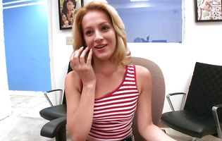 Beautiful latin blond Sky is a real pro when it comes to sucking a dinky