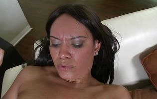 Stupefying latin brown-haired girlfriend Desireo wants to feel his love in her shaven snatch
