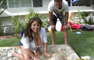 Voracious latina brown-haired Salena Marie is vigorously riding her lad's hard prick