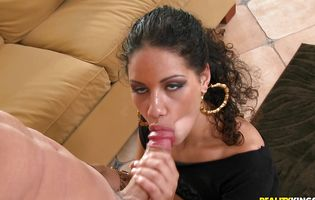 Tempting brunette Angelina gave a oral job to stranger and then he fucked her brains out